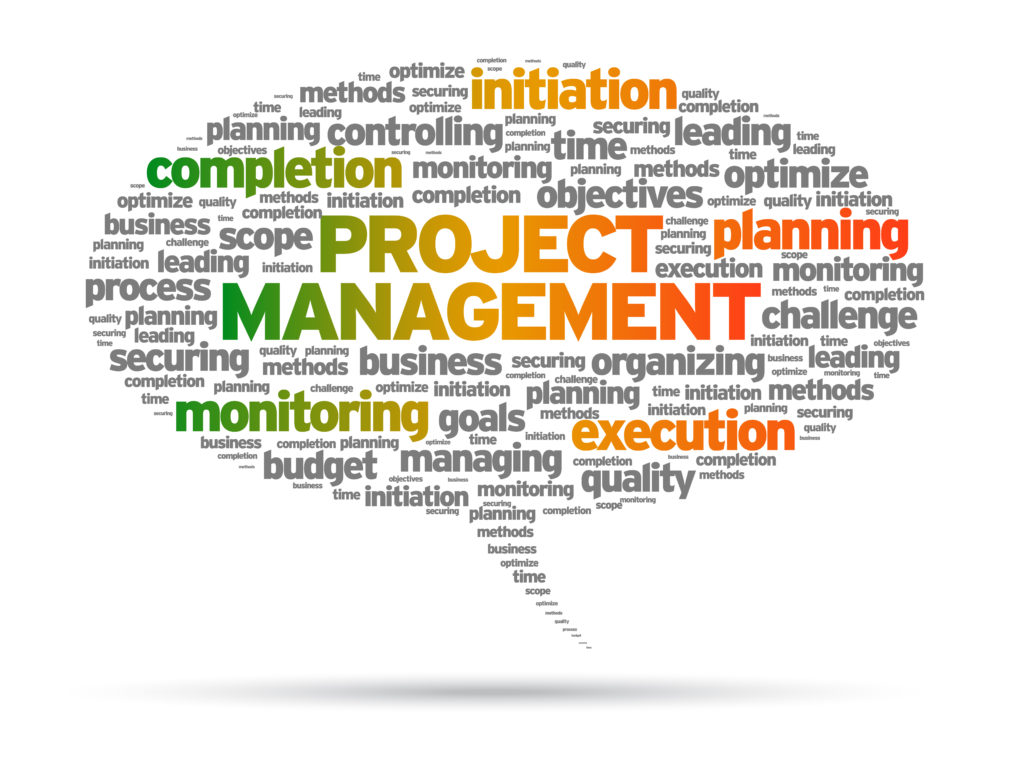 Project Management speech bubble illustration on white background.